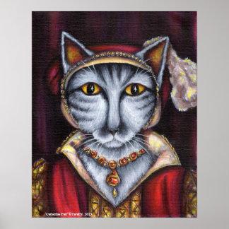 Catherine Parr Cat Art King Henry VIII Tudors Poster