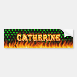Catherine real fire and flames bumper sticker desi