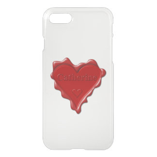 Catherine. Red heart wax seal with name Catherine iPhone 7 Case