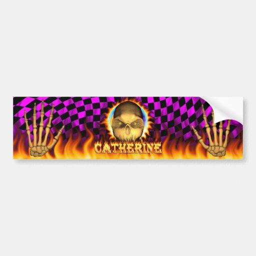 Catherine skull real fire and flames bumper sticke bumper sticker