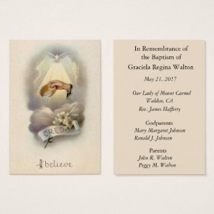 Catholic business cards templates zazzle catholic baby baptismal remembrance holy card colourmoves