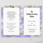 """Catholic Ceremony Purple Flowers Program Template<br><div class=""""desc"""">Catholic wedding ceremony template to be folded in half after purchase.   Lavender purple hydrangea flowers make a pretty background,  with white panels that hold black text.</div>"""