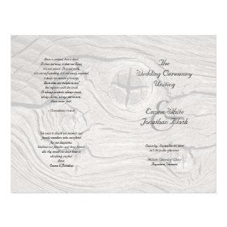 Catholic Ceremony Wood Folded Wedding Program