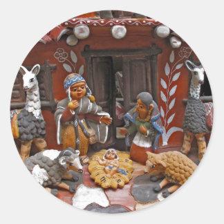 catholic christmas scene round sticker