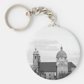 Catholic Church Black and White Fine Art Keychain