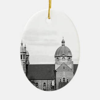 Catholic Church Black and White Photo Christmas Ornament