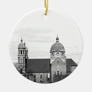 Catholic Church Black and White Photo Christmas Ornaments