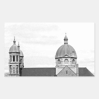 Catholic Church Black and White Photo Rectangular Sticker