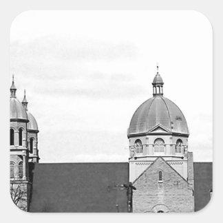 Catholic Church Black and White Photo Square Sticker