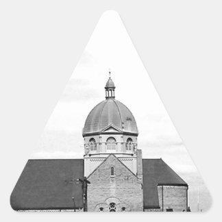 Catholic Church Black and White Photo Triangle Sticker