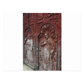 Catholic church ornate wooden doors postcard
