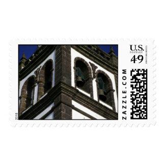 Catholic church tower postage stamp
