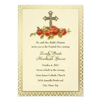 Catholic Cross Vintage Roses Wedding Invitation