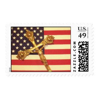 Catholic Crucifix and USA Flag Postage