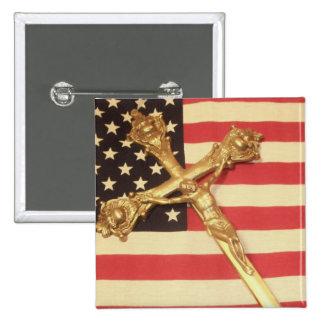 Catholic Crucifix over USA Flag Square Button