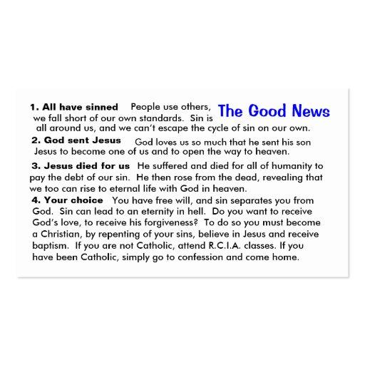 "Catholic Evangelization ""Cheat-Sheet"" Card Business Card"