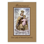 Catholic Feast of Our Lady of Mount Carmel, Brown Greeting Card