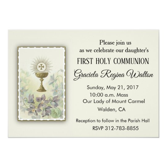Catholic First Holy Communion Invitations Zazzle Com