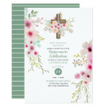 Catholic Floral Cross Quinceanera Invite Sage Pink