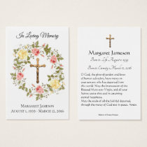 Catholic Floral Sympathy Condolence Holy Card