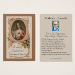 "Catholic Funeral Memorial Prayer Holy Card<br><div class=""desc"">Remember your loved ones in prayer with this beautiful Sacred Heart of Jesus personalized Catholic memorial holy card. These beautiful cards are commonly distributed at funerals as a reminder to pray for the deceased.</div>"