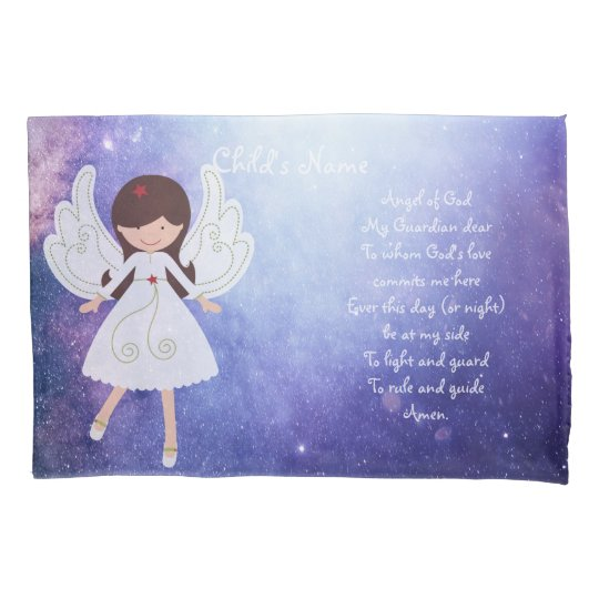 Catholic Guardian Angel Bedtime Prayer Named 4 Pillowcase