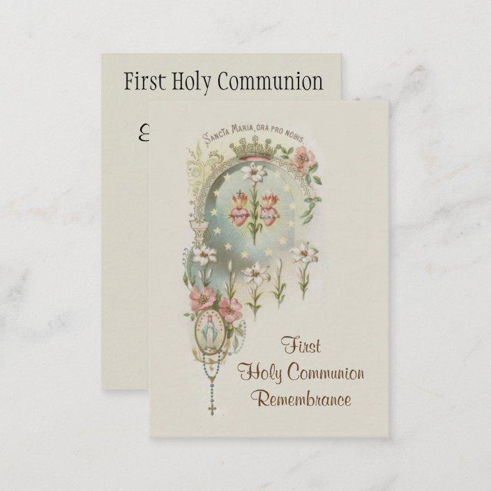Catholic Holy Card For First Holy Communion Zazzle.com