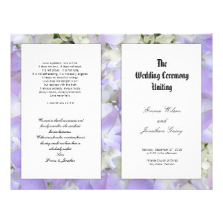 "Catholic Lavender Floral Wedding Program Template 8.5"" X 11"" Flyer"