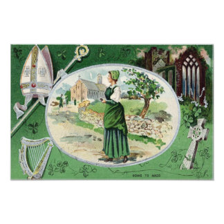 Catholic Mass Irish Woman Church Harp Photo Print