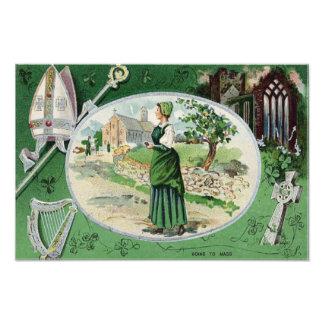 Catholic Mass Irish Woman Church Harp Photo Art