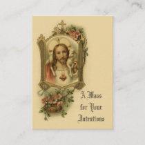 Catholic Mass Offering Sacred Heart Jesus Holy Business Card