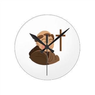 Catholic Monk Round Wall Clock