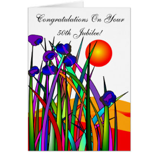 Catholic Nun 50th Jubilee Artsy Floral Card