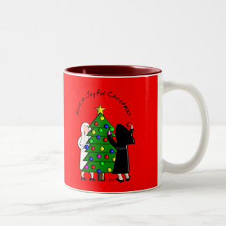 Catholic Nun Art Christmas Cards & Gifts Two-Tone Coffee Mug