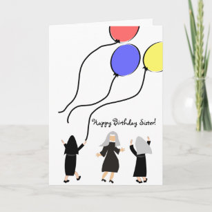 Catholic Nun Birthday Card Balloons