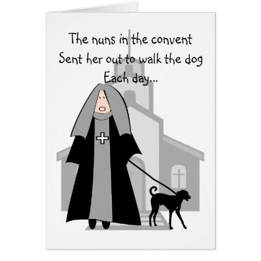 Catholic Nun Funny Cards Quot Walking The Dog Quot Zazzle Com
