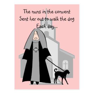 Catholic Nun Funny Cards Walking The Dog Post Cards