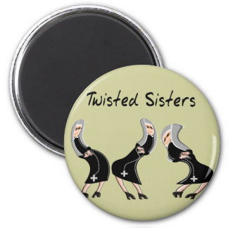 """Catholic Nun Gifts """"Twisted Sisters"""" Design 2 Inch Round Magnet"""