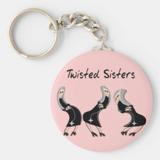 """Catholic Nun Gifts """"Twisted Sisters"""" Design Keychain"""