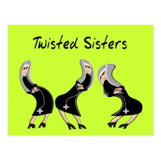 "Catholic Nun Gifts ""Twisted Sisters"" Design Postcard"