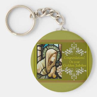 "Catholic Nun ""Golden Jubilee"" Cards & Gifts Basic Round Button Keychain"