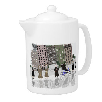 Catholic Nun Retro Art Teapot Gift