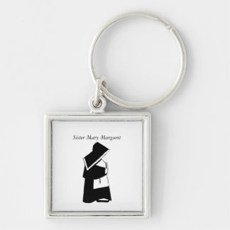 Catholic Nun Sister in Habit Custom Name Silver-Colored Square Keychain