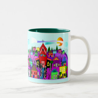 "Catholic Nuns Art ""Heading to Church"" Two-Tone Coffee Mug"