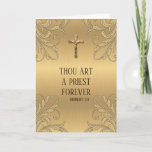 "Catholic Priest Anniversary Ordination Crucifix Card<br><div class=""desc"">Celebrate the Anniversary of Priesthood with this beautiful image of a gold Crucifix on a gold shimmer background.  All text and fonts may be modified.</div>"