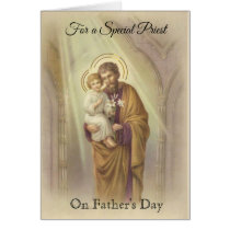 Catholic Priest  St. Joseph Jesus Father's Day Card