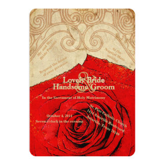 Catholic Red Rose Vintage Wedding Invitation
