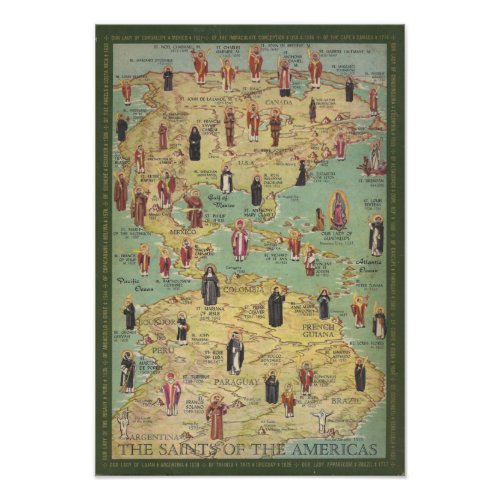 Catholic Saints of the Americas Vintage Poster