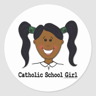 Catholic School Girl Ashleigh Round Sticker