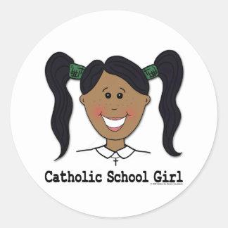 Catholic School Girl Cristina Round Stickers